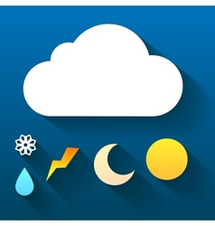 Night cloud and collection of signs isolated on vector