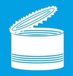 Open tin can icon white vector