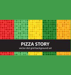 Polka dot pattern set pizza story seamless vector