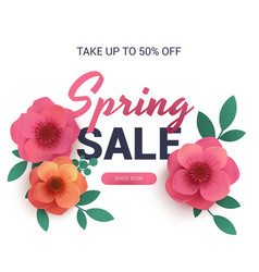 Postcard to the sale of spring with paper flowers vector