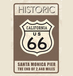 Retro route 66 sign historic roud background vector