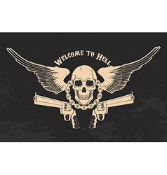 skull and two pistols vector image