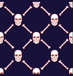 Skulls and bones seamless pattern vector