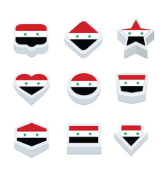 Syria flags icons and button set nine styles vector