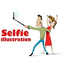 taking selfie on smartphone vector image vector image