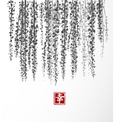 wisteria hand drawn with ink on white background vector image vector image