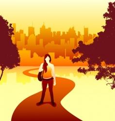 Women and city vector
