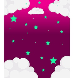 A pink sky with green stars vector