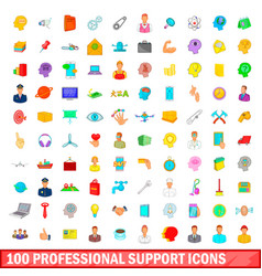 100 professional support icons set cartoon style vector