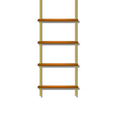 Wooden rope ladder with shadow vector