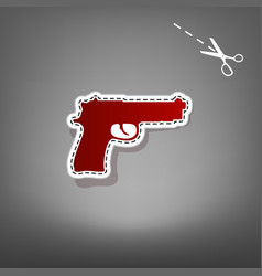 Gun sign   red icon with for vector