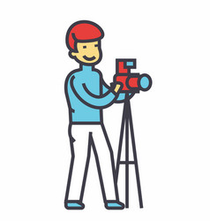 photographer with camera and tripod photo studio vector image