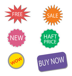 Set of sale stickers and labels colorful shopping vector