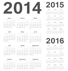 Spanish 2014 2015 2016 year calendars vector