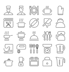 Kitchen utensils and cooking line icons vector