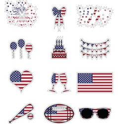 American symbols stickers style vector