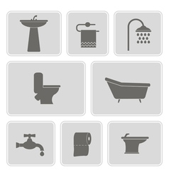 Set with bathroom icons vector