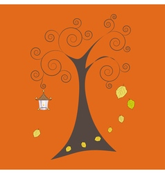Autumn tree with falling leaves and old lamp vector