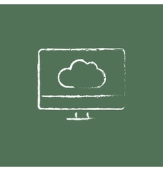 Monitor with cloud icon drawn in chalk vector