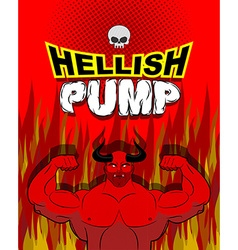Hellish pump satan bodybuilder with huge muscles vector