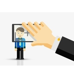 Taking a picture of businessman hand with vector