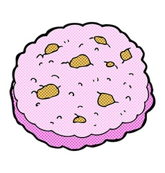 Pink cookie comic cartoon vector