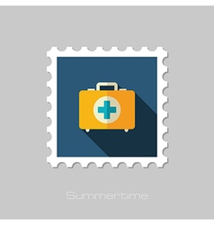 First aid kit flat stamp summer vacation vector