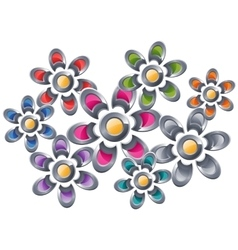 Collection of the colorful flowers vector