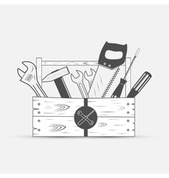 Tool set in wood box vector