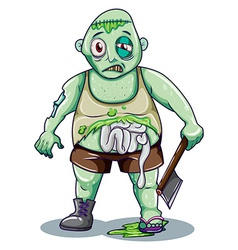 A zombie holding an ax vector image vector image