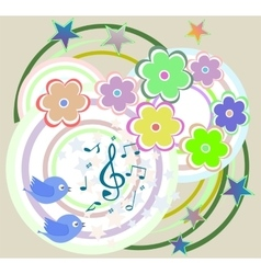 birds in love singing on abstract floral vector image