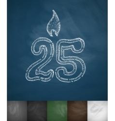 Candle twenty five icon vector