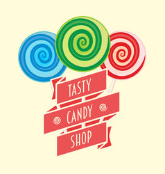 candy shop logo symbol or label concept with vector image