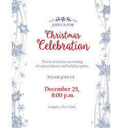 christmas party invitation with frosty snowflakes vector image vector image