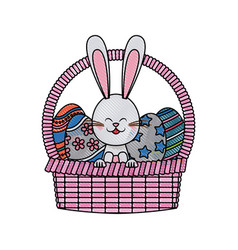 Drawing easter rabbit with basket egg festive vector