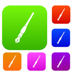 ink pen set color collection vector image vector image