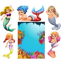 mermaid characters and underwater scene background vector image