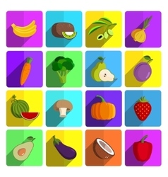 Modern fruits and vegetables icon set vector