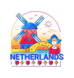 Netherlands - modern line travel vector