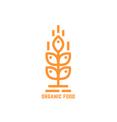 orange simple organic food logo vector image