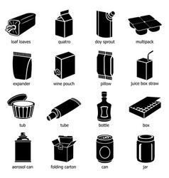 package types icons set simple style vector image vector image