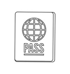 passport with earth diagram icon line design vector image