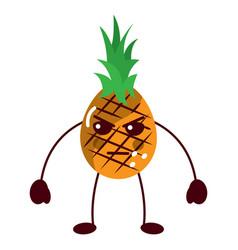 Pinapple angry fruit kawaii icon image vector