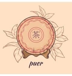 Puer tea on brown background vector