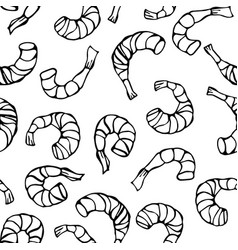 seafood seamless pattern shrimp or prawn vector image vector image