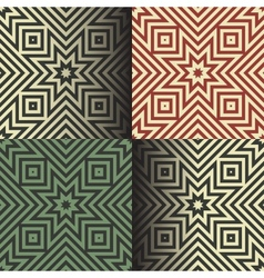 Seamless geometric patterns in the retro colors vector