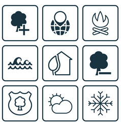 Set of 9 eco icons includes delete woods insert vector