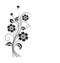 Simple floral background in black and white vector image vector image