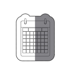 Sticker monochrome contour calendar with two rings vector