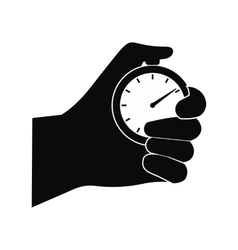 Stopwatch in hand black simple icon vector image
